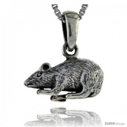 Sterling Silver Rat Pendant, 5/8 in tall -Style Pa168
