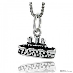 Sterling Silver Cruise Ship Pendant, 5/16 in tall