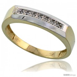10k Yellow Gold Mens Diamond Wedding Band Ring 0.04 cttw Brilliant Cut, 3/16 in wide -Style 10y009mb