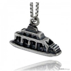 Sterling Silver Ship Pendant, 5/16 in tall