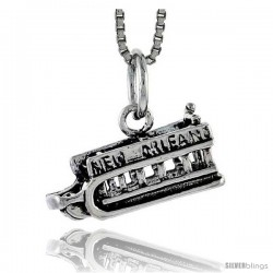 Sterling Silver New Orleans Ship Pendant, 1/4 in tall
