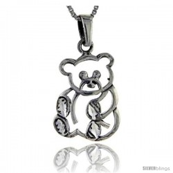 Sterling Silver Teddy Bear Pendant, 1 3/8 in tall