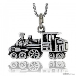 Sterling Silver Loco Motive Train Pendant, 1/2 in tall