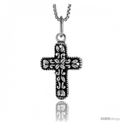 Sterling Silver Latin Cross Pendant, 3/4 in tall