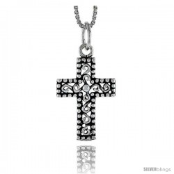 Sterling Silver Latin Cross Pendant, 3/4 in tall -Style Pa1693