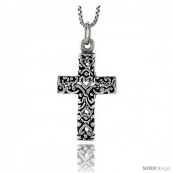 Sterling Silver Latin Cross Pendant, 1 in tall