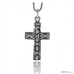 Sterling Silver Latin Cross Pendant, 1 in tall -Style Pa1695