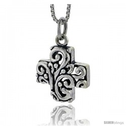 Sterling Silver Cross Pendant, 5/8 in tall