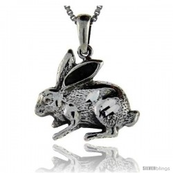 Sterling Silver Rabbit Pendant, 1 in tall
