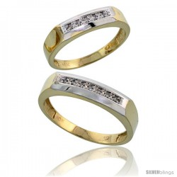 10k Yellow Gold Diamond Wedding Rings 2-Piece set for him 5 mm & Her 4.5 mm 0.07 cttw Brilliant Cut