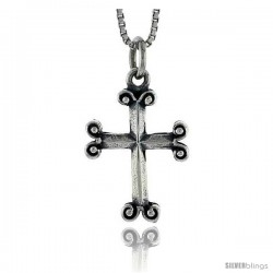Sterling Silver Moline Cross Pendant, 3/4 in tall