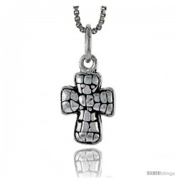 Sterling Silver Cross Pendant, 1/2 in tall