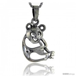 Sterling Silver Bear Pendant, 1 1/16 in tall