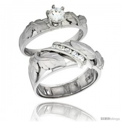 Sterling Silver Cubic Zirconia Engagement Rings Set for Him & Her Round, Brilliant Cut 3/8 in wide