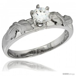 Sterling Silver Cubic Zirconia Solitaire Engagement Ring 1 ct size Brilliant cut 3/16 in wide -Style Agcz615er