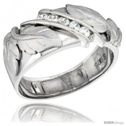 Sterling Silver Cubic Zirconia Mens Wedding Band Ring 3/8 in wide