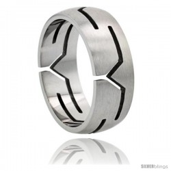 Surgical Steel Y Cut-outs Ring Domed 8mm Wedding Band
