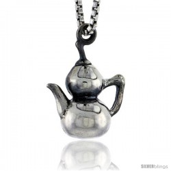 Sterling Silver Victorian Tea Pot Pendant, 1/2 in tall
