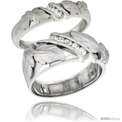 Sterling Silver Cubic Zirconia 2-Piece Wedding Ring Set for Him 9mm 3/8 in wide & Her 5mm 3/16 in wide -Style Agcz615w2