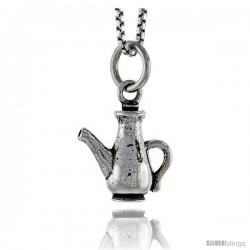 Sterling Silver Victorian Era Tea Pot Pendant, 1/2 in tall
