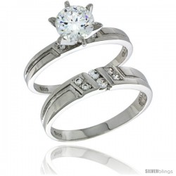 Sterling Silver Cubic Zirconia Ladies' Engagement Ring Set 2-Piece, 5/32 in wide -Style Agcz616e2