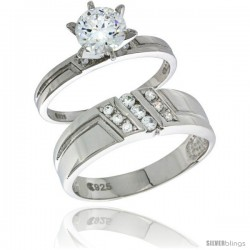Sterling Silver Cubic Zirconia Engagement Rings Set for Him & Her Round, Brilliant Cut 1/4 in wide