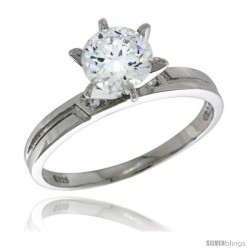 Sterling Silver Cubic Zirconia Solitaire Engagement Ring 3 ct size Brilliant Cut 5/32 in