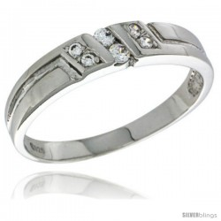 Sterling Silver Cubic Zirconia Ladies' Wedding Band Ring, 5/32 in wide -Style Agcz616lb