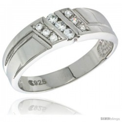 Sterling Silver Cubic Zirconia Mens Wedding Band Ring 1/4 in wide