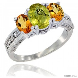14k White Gold Ladies Oval Natural Lemon Quartz 3-Stone Ring with Citrine Sides Diamond Accent