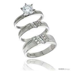 Sterling Silver Cubic Zirconia Trio Engagement Wedding Ring Set for Him & Her, men's band 1/4 in wide, L 5 - 10 & M 8 - 14