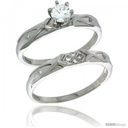 Sterling Silver Cubic Zirconia Ladies' Engagement Ring Set 2-Piece, 1/8 in wide