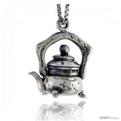 Sterling Silver Tea Pot Pendant, 5/8 in tall