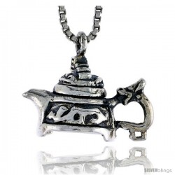 Sterling Silver Tea Pot Pendant, 1/2 in tall
