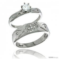 Sterling Silver Cubic Zirconia Engagement Rings Set for Him & Her Round, Brilliant Cut 1/4 in wide -Style Agcz617em