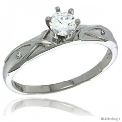Sterling Silver Cubic Zirconia Solitaire Engagement Ring 0.85 ct size Brilliant Cut 1/8 in wide