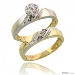 10k Yellow Gold Diamond Engagement Rings Set 2-Piece 0.07 cttw Brilliant Cut, 3/16 in wide
