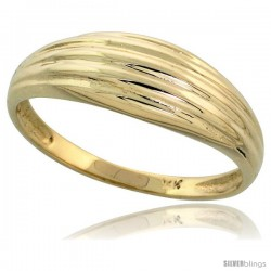 "14k Gold Grooved Dome Ring, 1/4"" (6mm) wide"