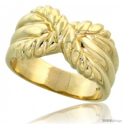 "14k Gold Contemporary Rope Style Knot Ring, 3/8"" (10mm) wide"
