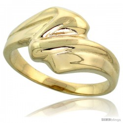 "14k Gold Contemporary Wave Ring, 7/16"" (11mm) wide -Style Kffr579"