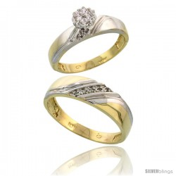 10k Yellow Gold Diamond Engagement Rings 2-Piece Set for Men and Women 0.08 cttw Brilliant Cut, 4.5mm & 6mm wide