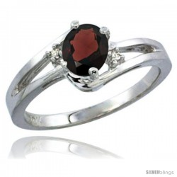 10K White Gold Natural Garnet Ring Oval 6x4 Stone Diamond Accent -Style Cw910165