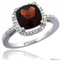 10K White Gold Natural Garnet Ring Cushion-cut 8x8 Stone Diamond Accent
