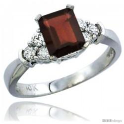 10K White Gold Natural Garnet Ring Emerald-shape 7x5 Stone Diamond Accent