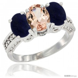 14K White Gold Natural Morganite Ring with Lapis 3-Stone 7x5 mm Oval Diamond Accent