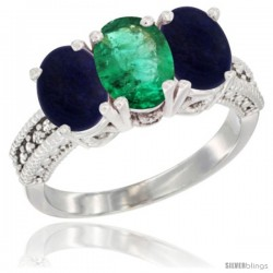 14K White Gold Natural Emerald Ring with Lapis 3-Stone 7x5 mm Oval Diamond Accent