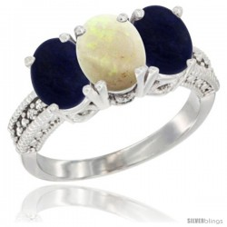 14K White Gold Natural Opal Ring with Lapis 3-Stone 7x5 mm Oval Diamond Accent
