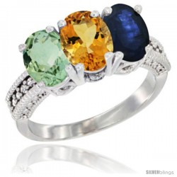 14K White Gold Natural Green Amethyst, Citrine & Blue Sapphire Ring 3-Stone 7x5 mm Oval Diamond Accent