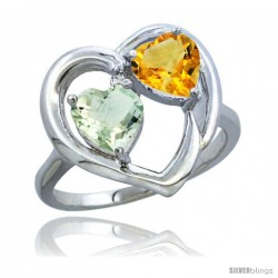 14k White Gold 2-Stone Heart Ring 6mm Natural Green Amethyst & Citrine Diamond Accent, Diamond Accent