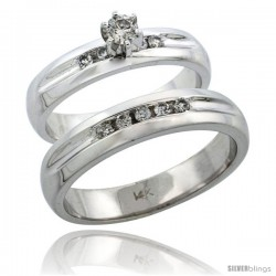 14k White Gold 2-Piece Diamond Ring Band Set w/ Rhodium Accent ( Engagement Ring & Man's Wedding Band ), w -Style 14w916em
